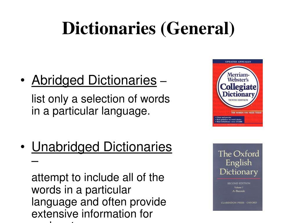 Dictionaries (General)