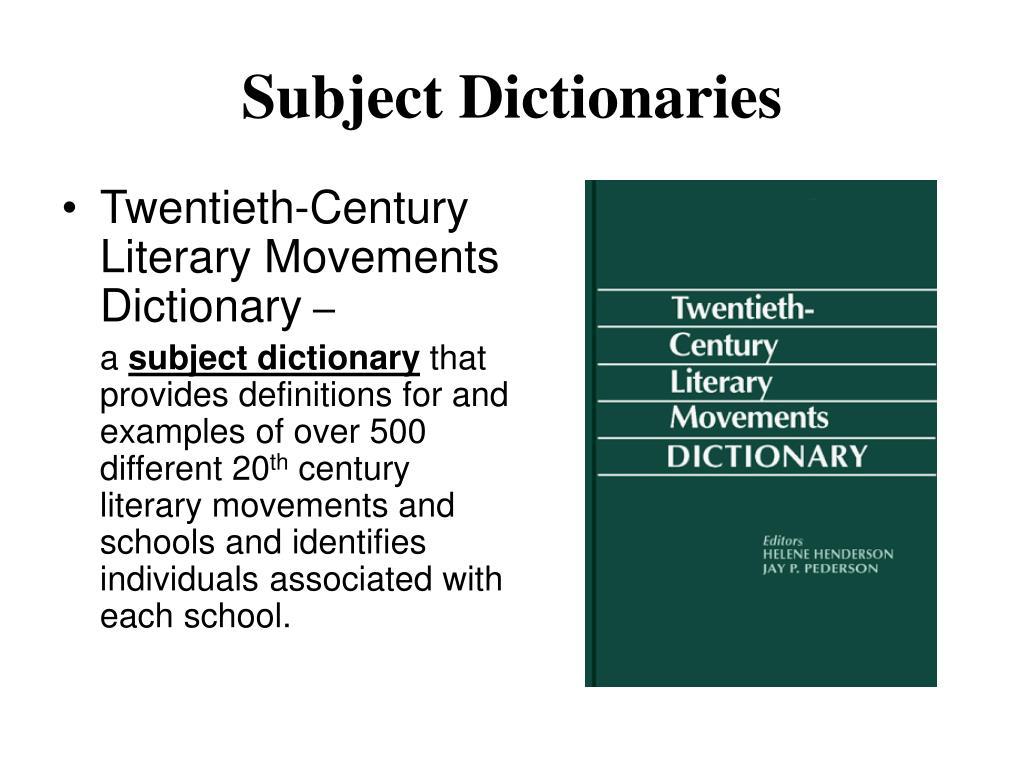 Subject Dictionaries