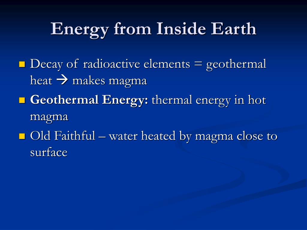 Energy from Inside Earth