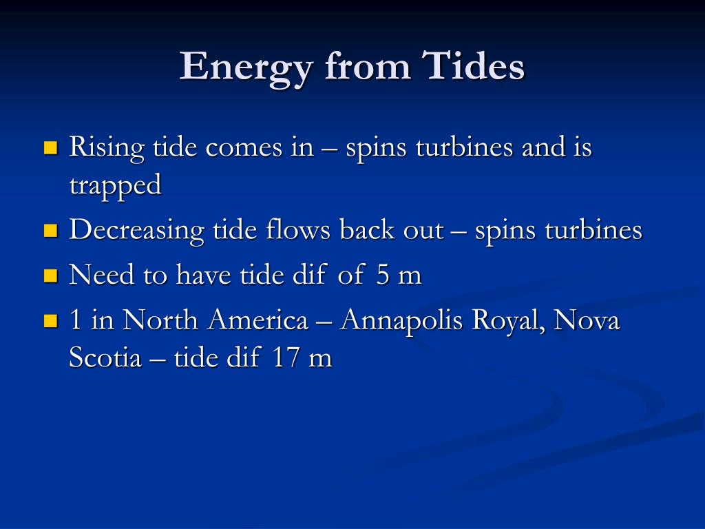 Energy from Tides