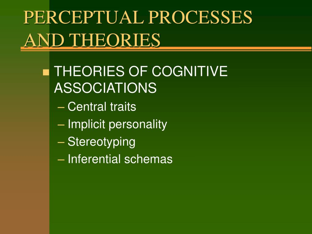 PERCEPTUAL PROCESSES AND THEORIES