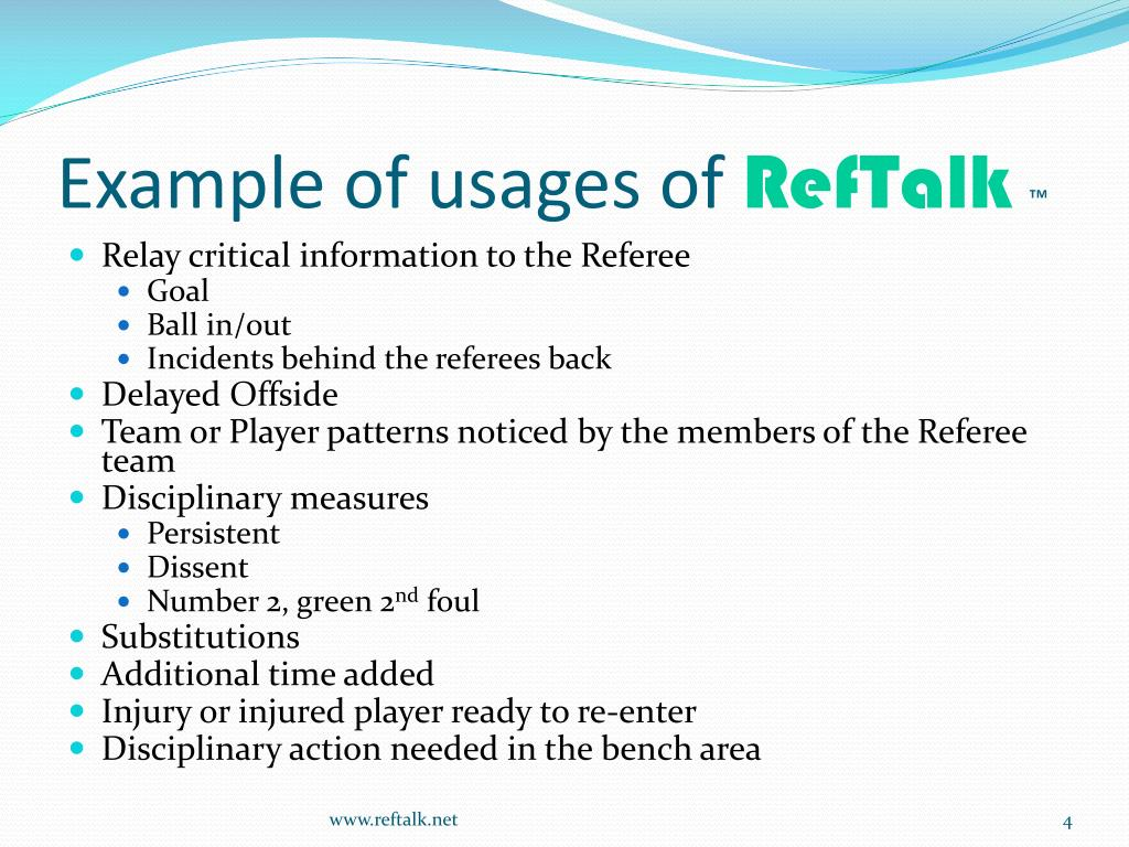 Example of usages of