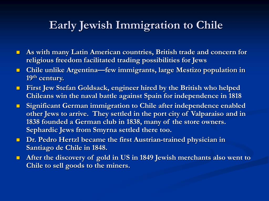Early Jewish Immigration to Chile