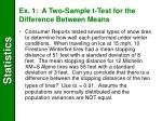 ex 1 a two sample t test for the difference between means
