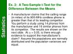 ex 2 a two sample t test for the difference between the means