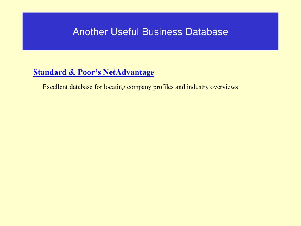 Another Useful Business Database