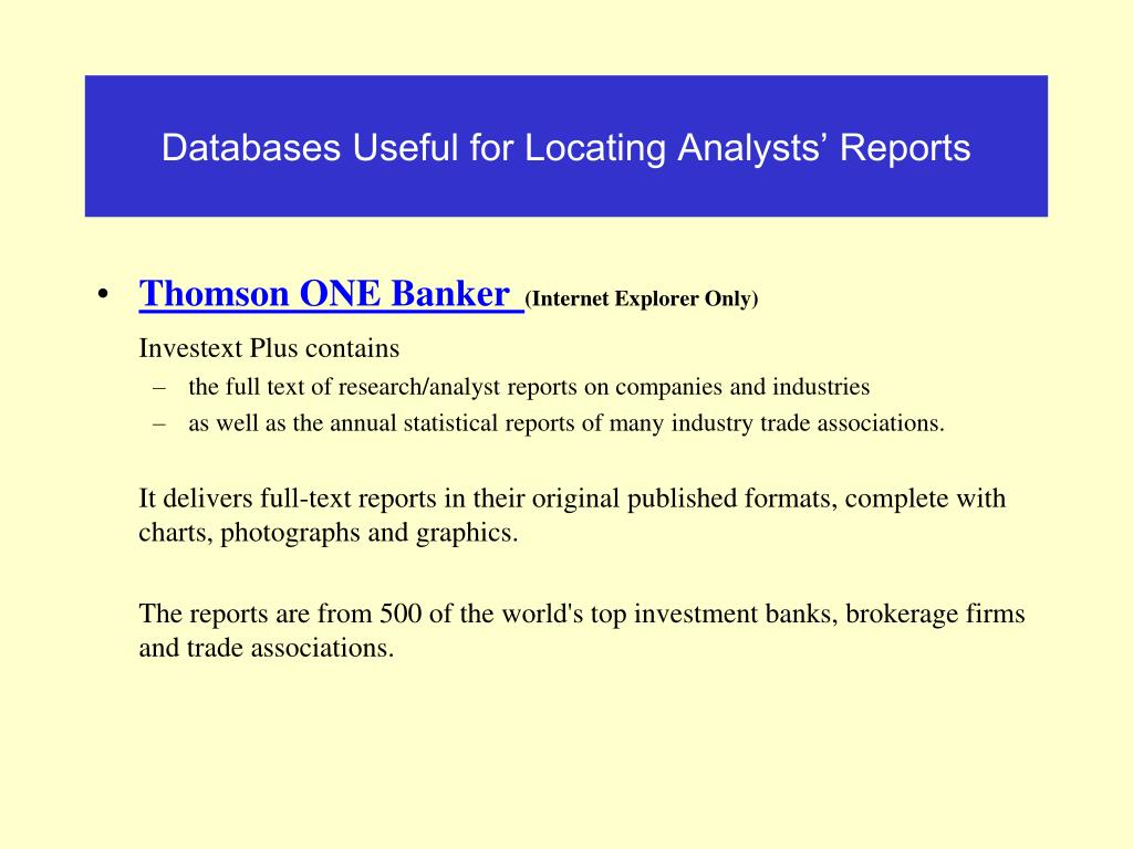 Databases Useful for Locating Analysts' Reports