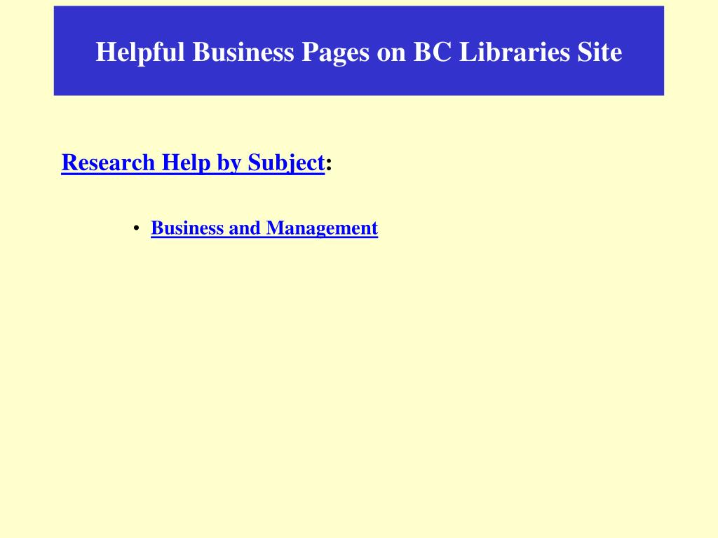 Helpful Business Pages on BC Libraries Site