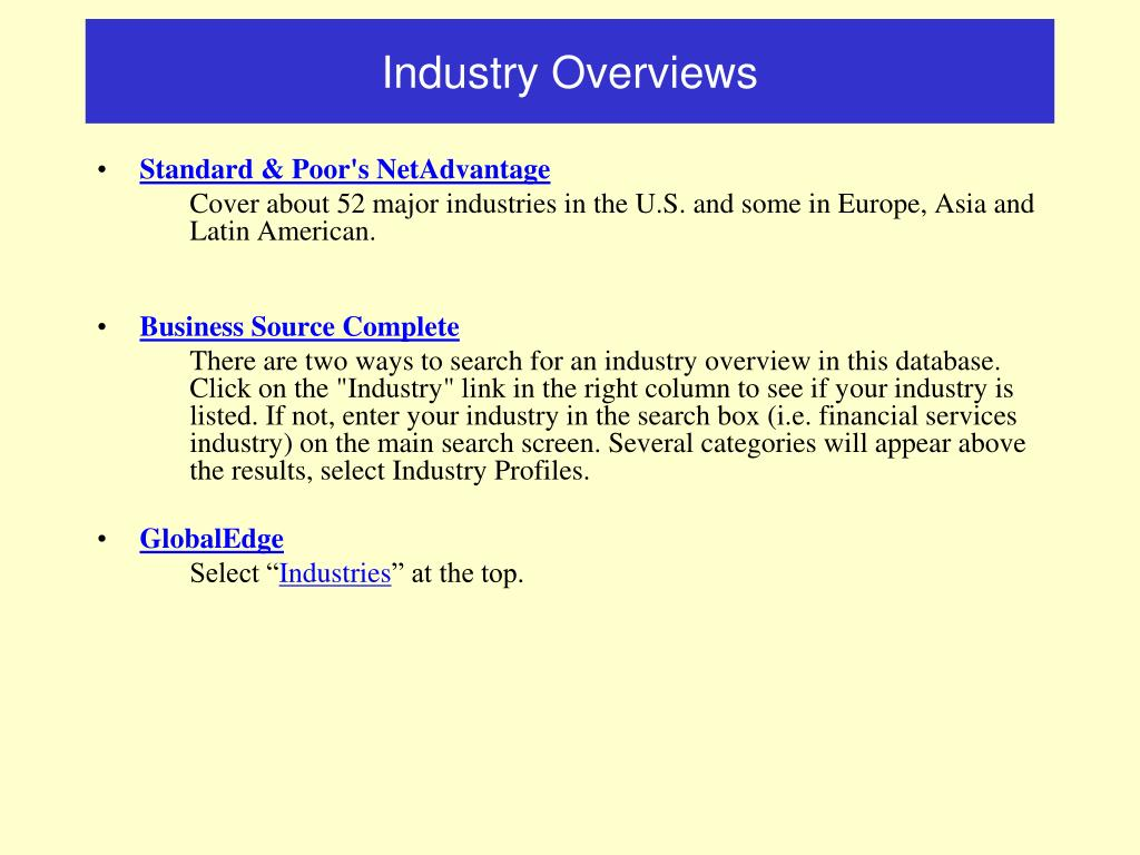 Industry Overviews