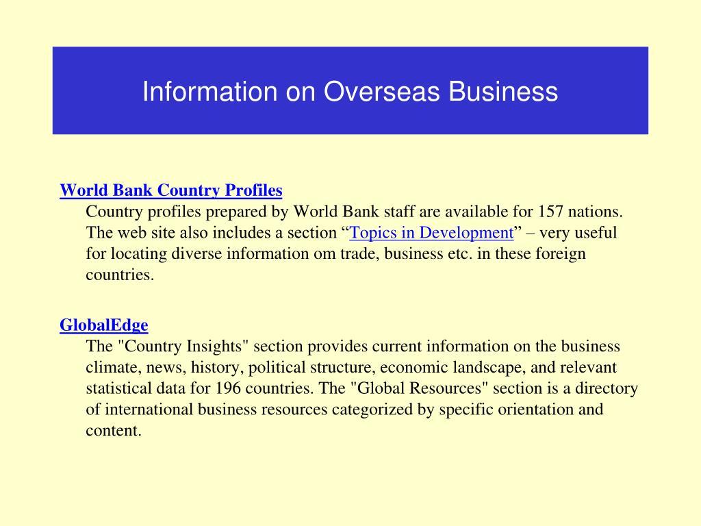 Information on Overseas Business