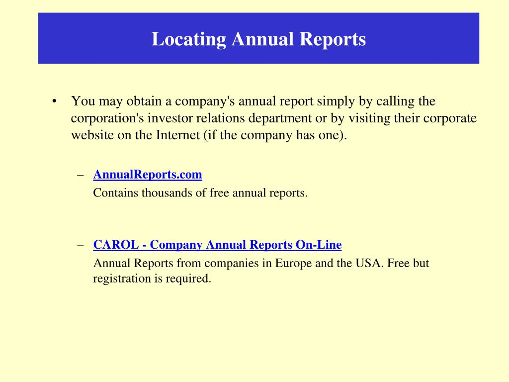 Locating Annual Reports