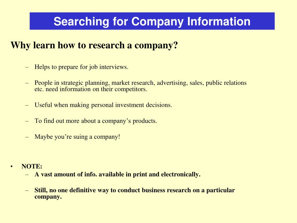 Searching for Company Information