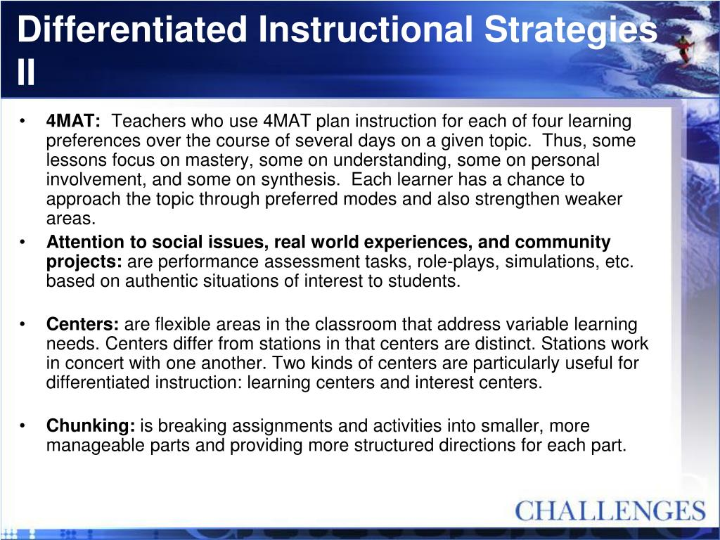Differentiated Instructional Strategies II