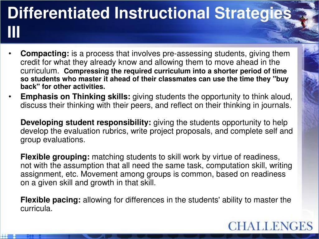 Differentiated Instructional Strategies III