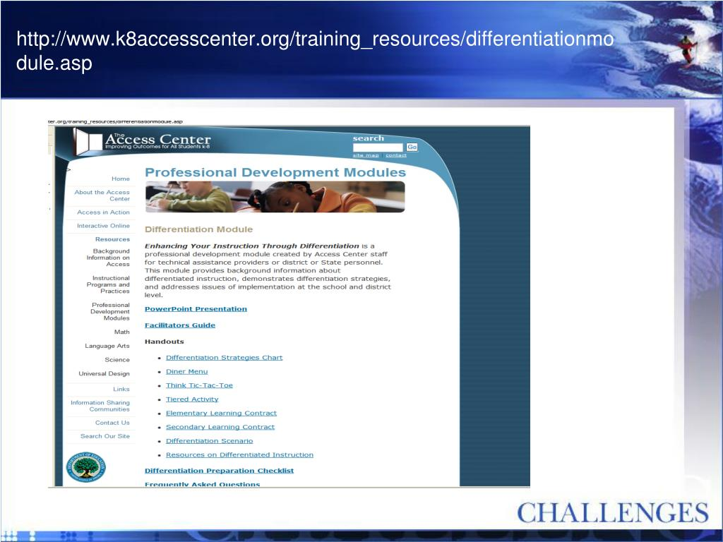 http://www.k8accesscenter.org/training_resources/differentiationmodule.asp
