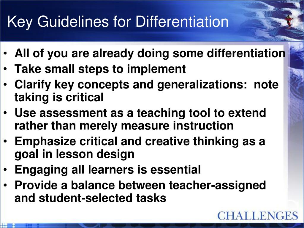 Key Guidelines for Differentiation