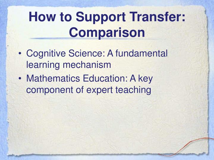 How to support transfer comparison