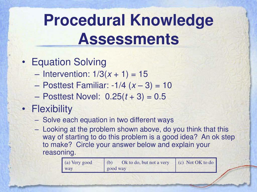 Procedural Knowledge Assessments