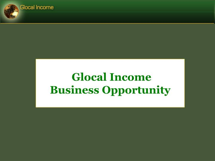glocal income business opportunity n.