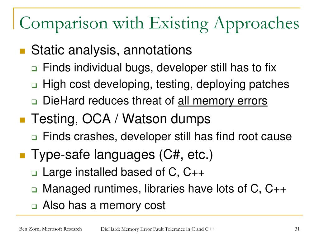 Comparison with Existing Approaches