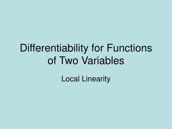 differentiability for functions of two variables n.