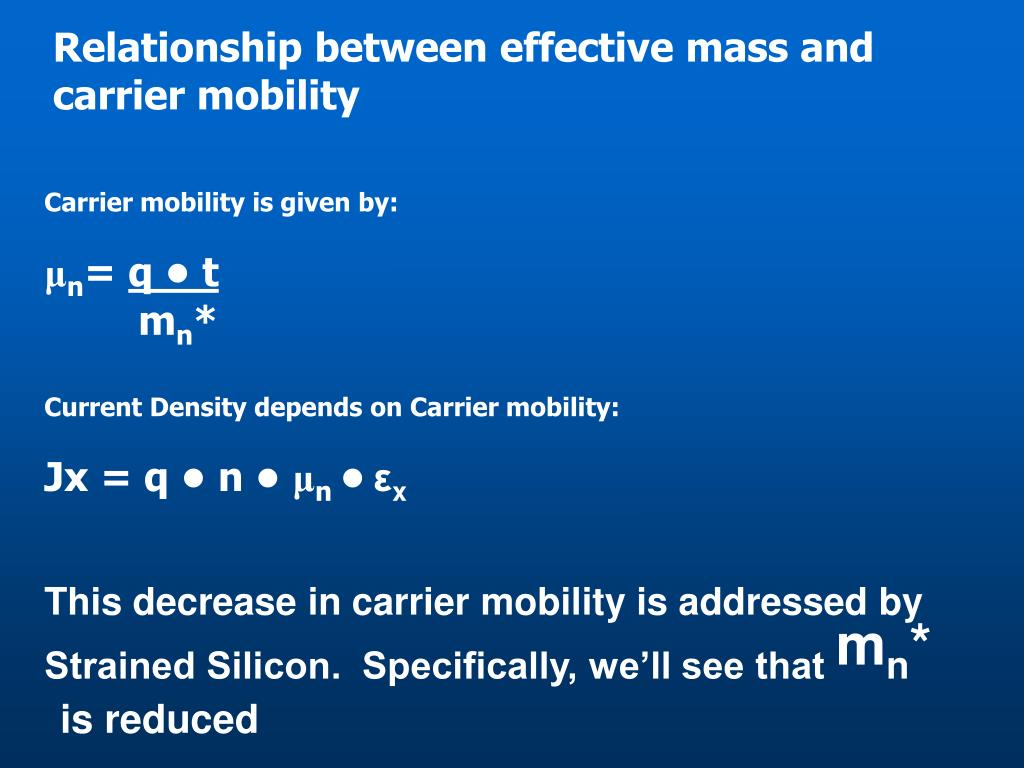 Relationship between effective mass and carrier mobility