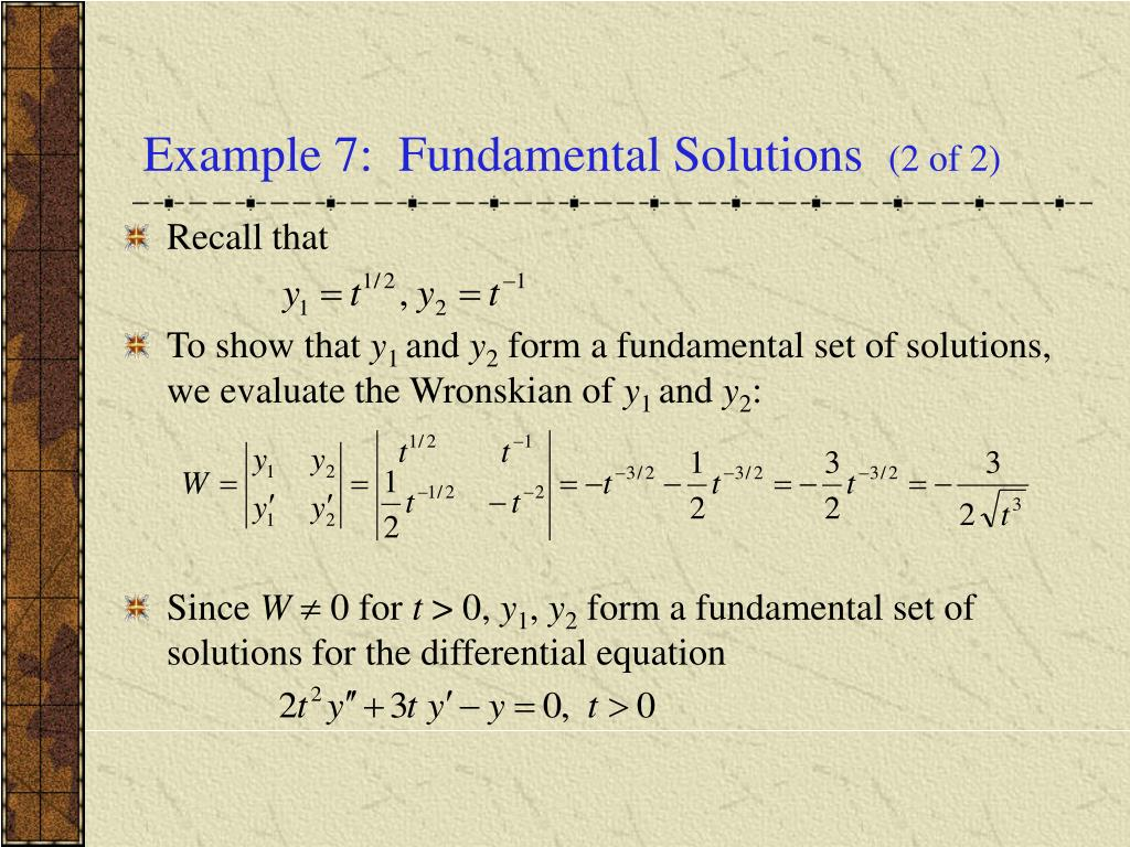 Example 7:  Fundamental Solutions
