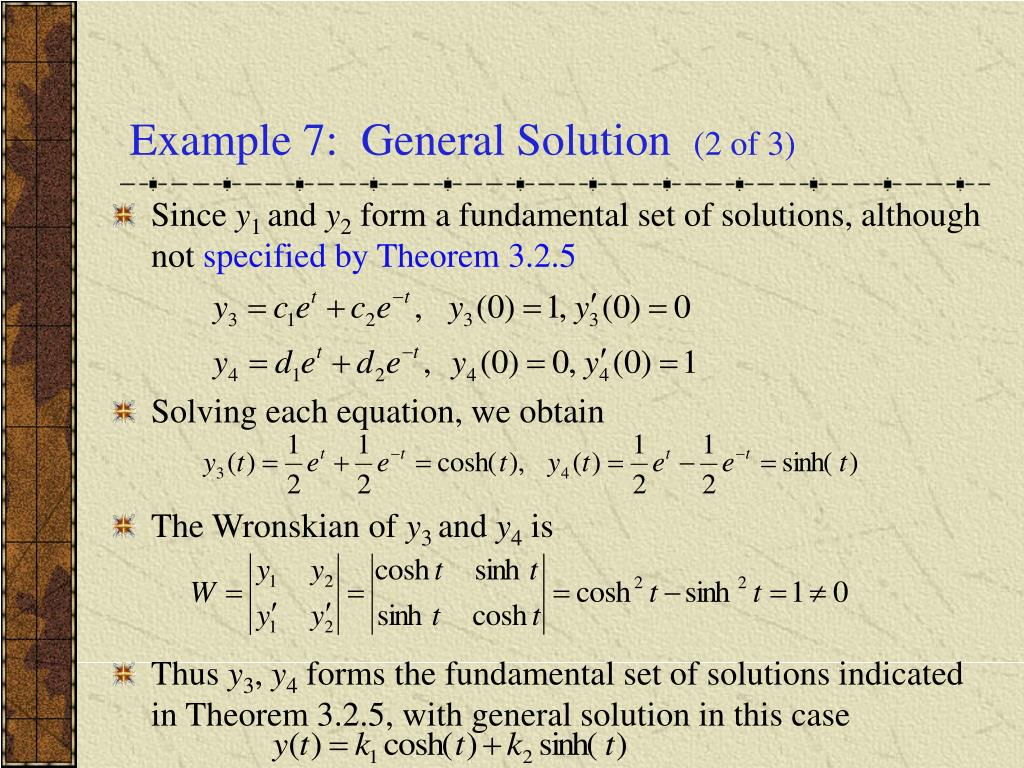 Example 7:  General Solution