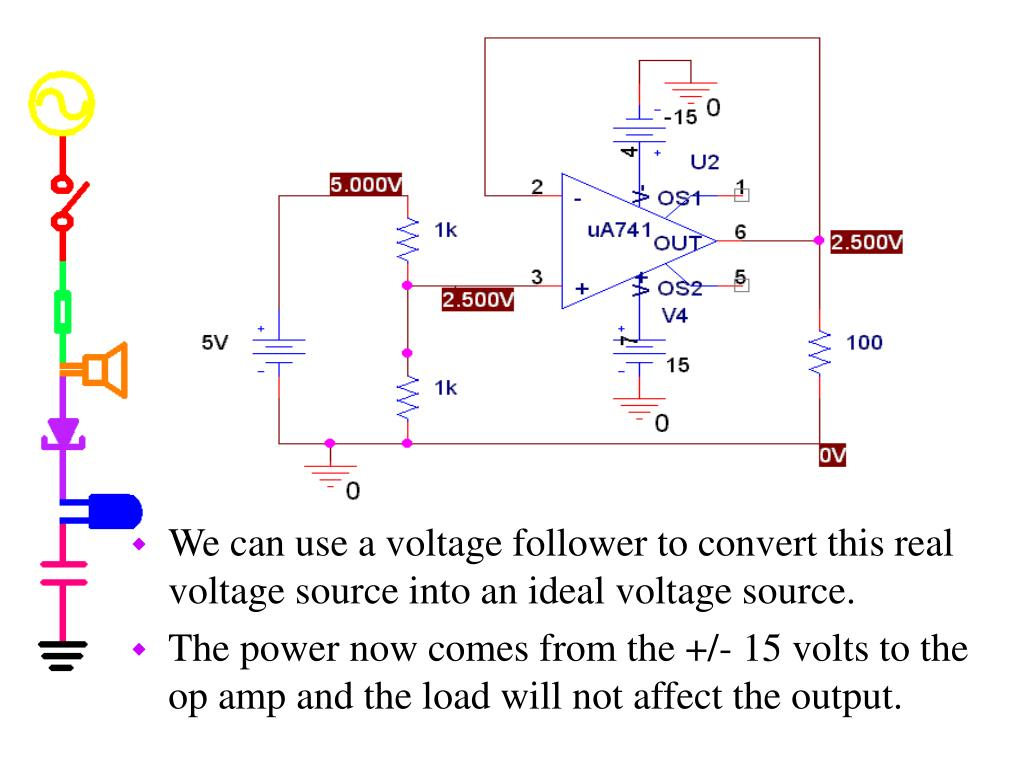 We can use a voltage follower to convert this real voltage source into an ideal voltage source.