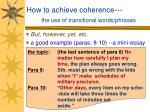 how to achieve coherence the use of transitional words phrases