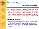 post reading tasks an essay question