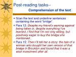 post reading tasks comprehension of the text