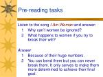 pre reading tasks