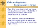 while reading tasks comprehension of the text35