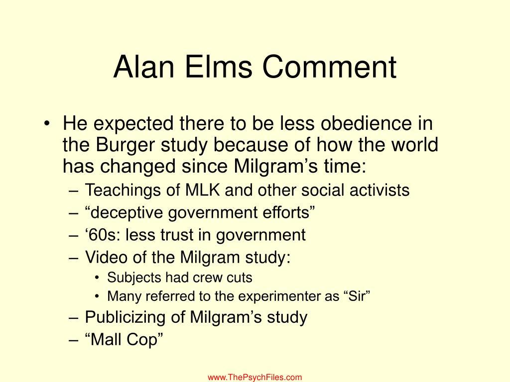 Alan Elms Comment