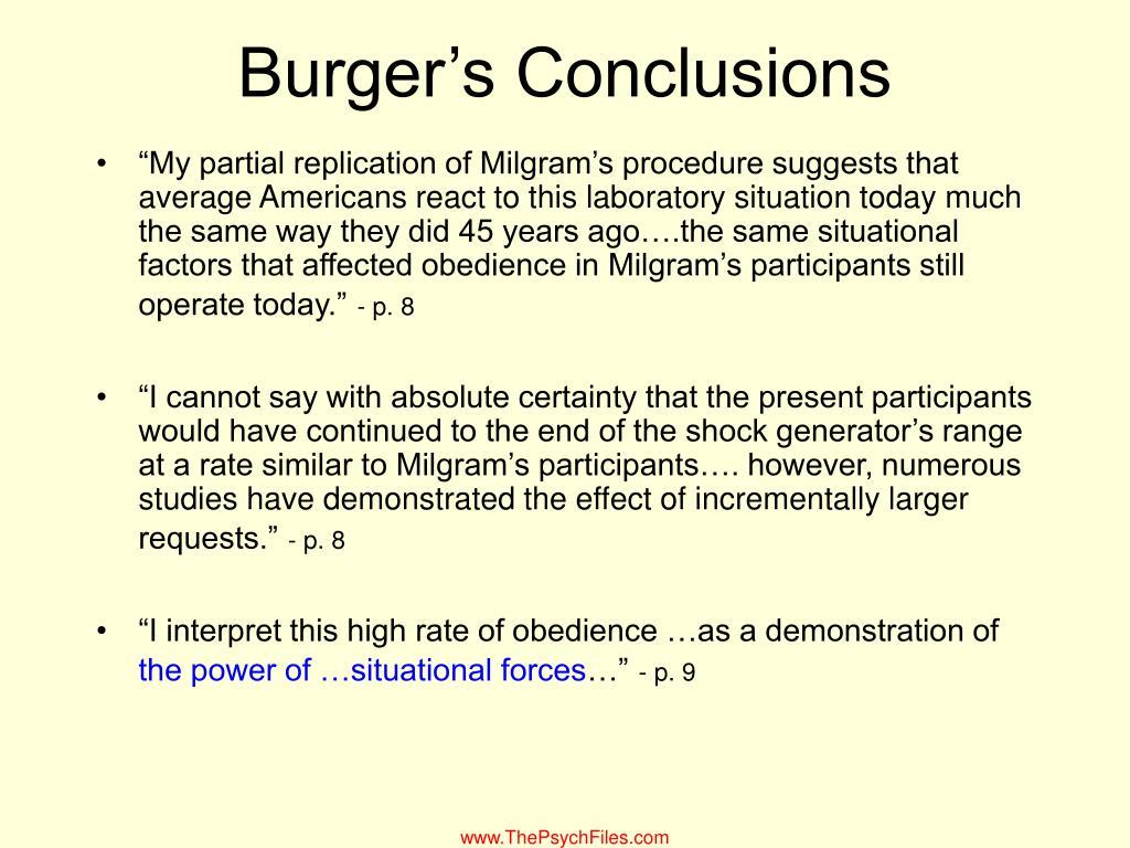 Burger's Conclusions