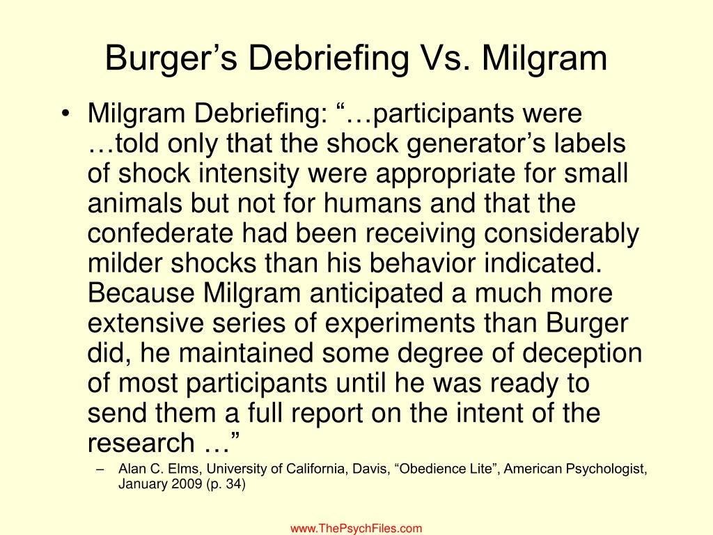 Burger's Debriefing Vs. Milgram