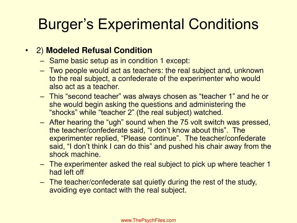 Burger's Experimental Conditions