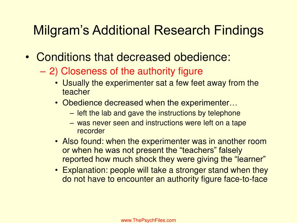 Milgram's Additional Research Findings