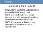leadership call results