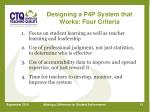 designing a p4p system that works four criteria