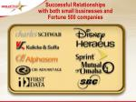 successful relationships with both small businesses and fortune 500 companies