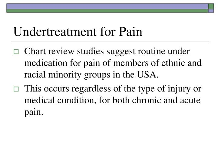 Undertreatment for pain