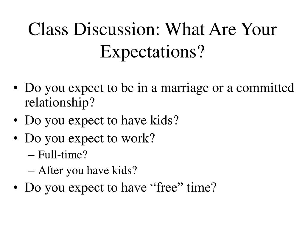 Class Discussion: What Are Your Expectations?
