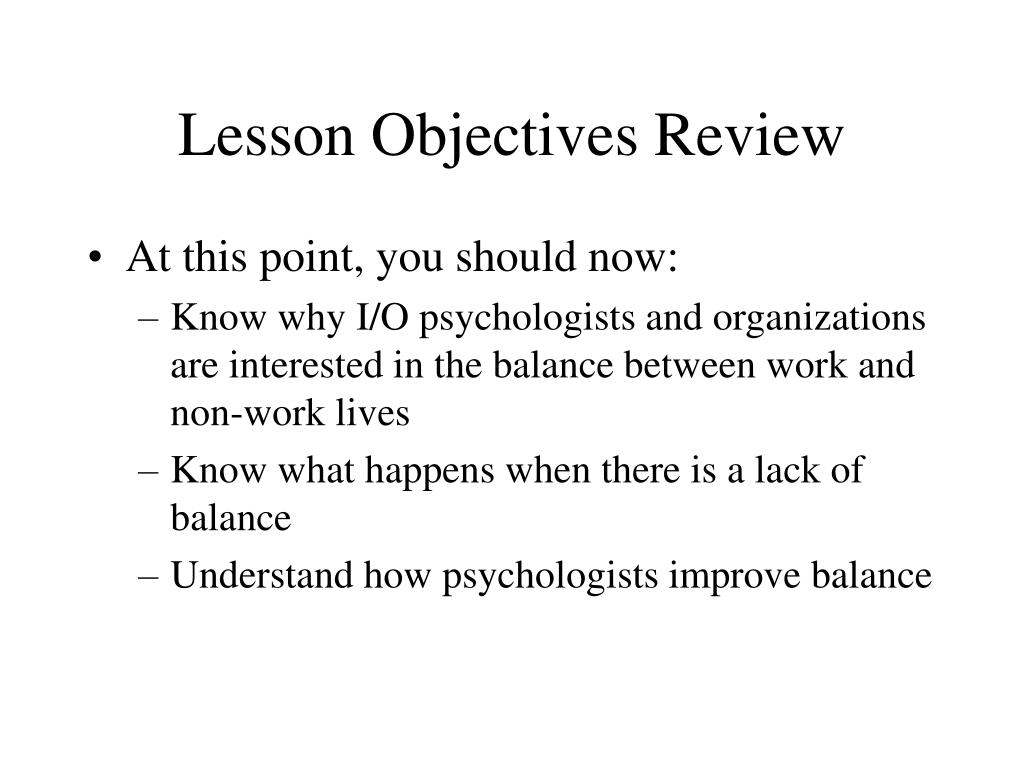 Lesson Objectives Review