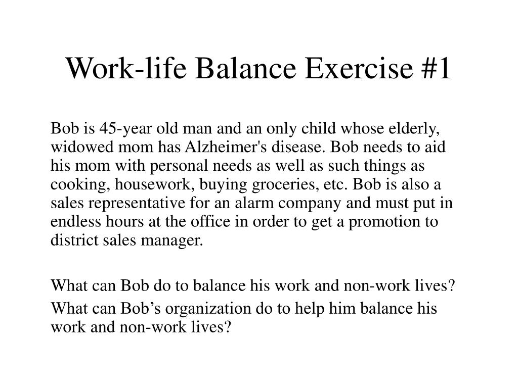 Bob is 45-year old man and an only child whose elderly, widowed mom has Alzheimer's disease. Bob needs to aid his mom with personal needs as well as such things as cooking, housework, buying groceries, etc. Bob is also a sales representative for an alarm company and must put in endless hours at the office in order to get a promotion to district sales manager.
