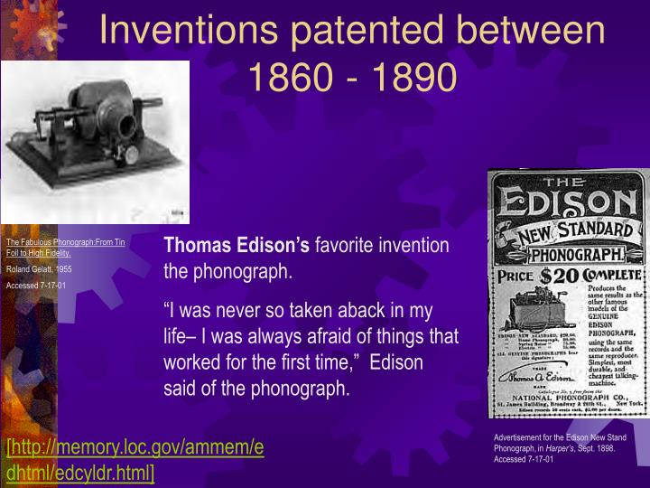 Inventions patented between 1860 1890