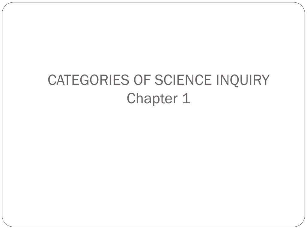 CATEGORIES OF SCIENCE