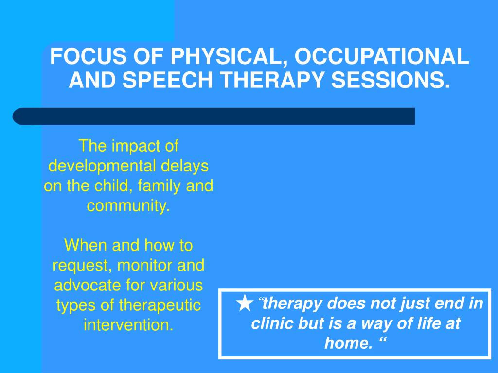 FOCUS OF PHYSICAL, OCCUPATIONAL AND SPEECH THERAPY SESSIONS.