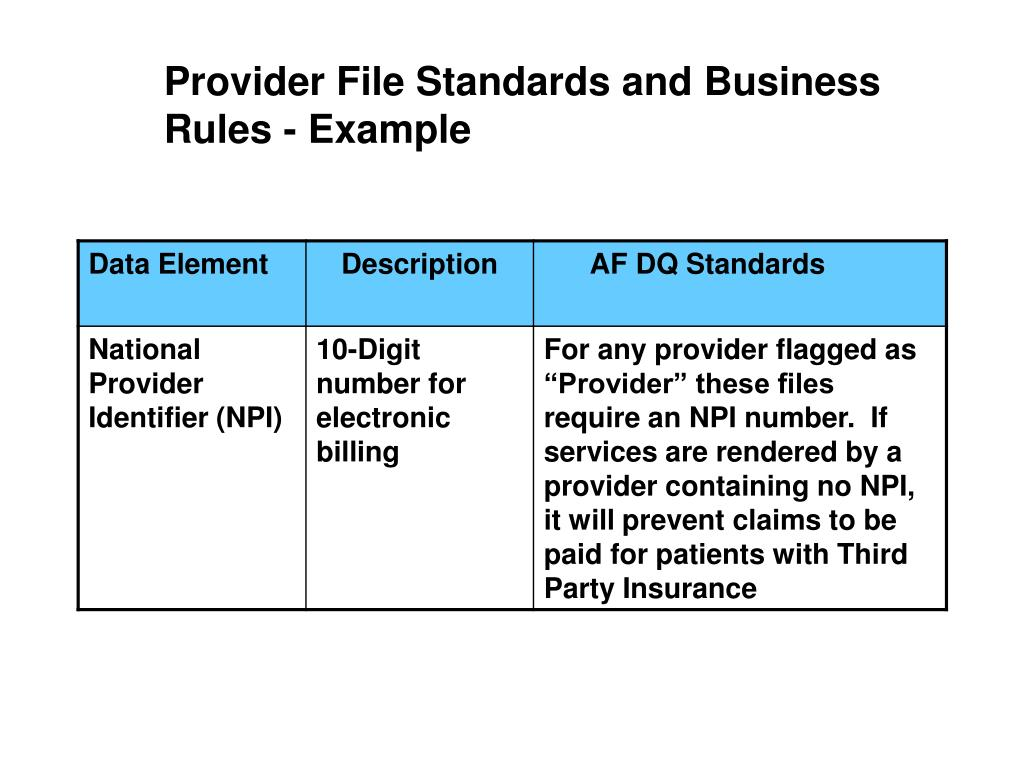 Provider File Standards and Business Rules - Example